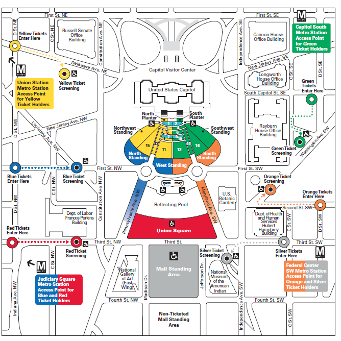 Inaugural Ceremonies Map And Guidelines United States Capitol - Map of us capital building