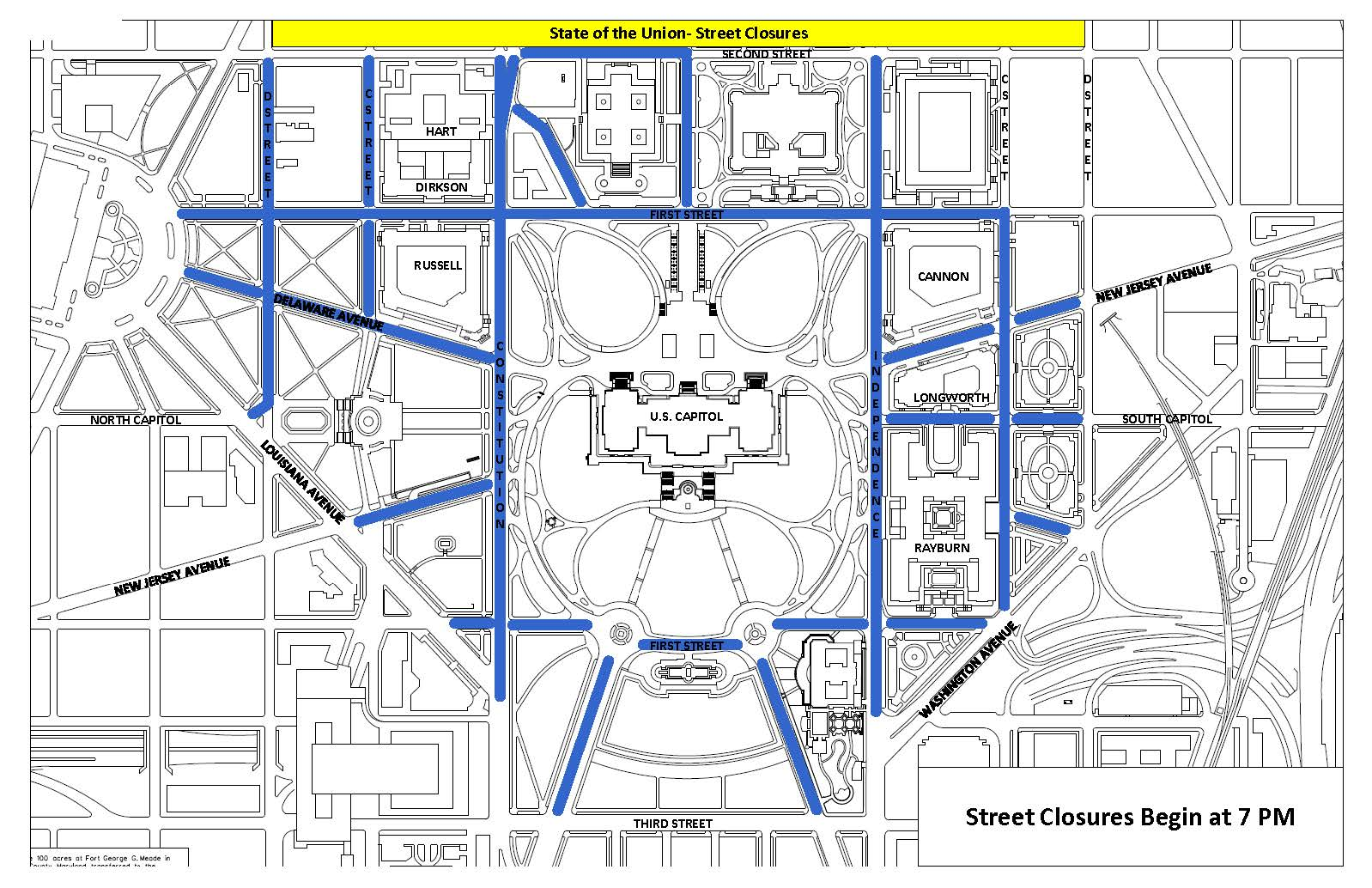 Map of street closures for the 2020 State of the Union Address.